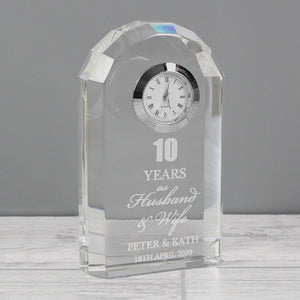 Personalised Anniversary Crystal Clock ¦ Engraved Crystal Clock Gift A Wine Lovers
