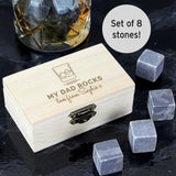 Whisky Stones ¦ Personalised Whisky Stones Gifts  Set For DAD ¦ 8 Granite Chilling A Wine Lovers