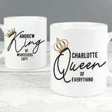 Personalised King and Queen of Everything Mug Gift Set ¦ A Wine Lovers