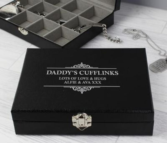 Personalised Cufflink Box ¦ Large Cufflink Gift for Men ¦ Big Cufflinks A Wine Lovers