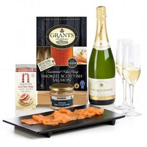 Gluten Free Champagne and Smoked Salmon Hamper Set ¦ Gluten Free Hamper A Wine Lovers