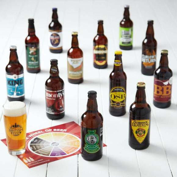 Beer Lovers 12 Pack Hamper ¦ Beer Mixed Cases Gift Pack of 12 + Free Glass A Wine Lovers