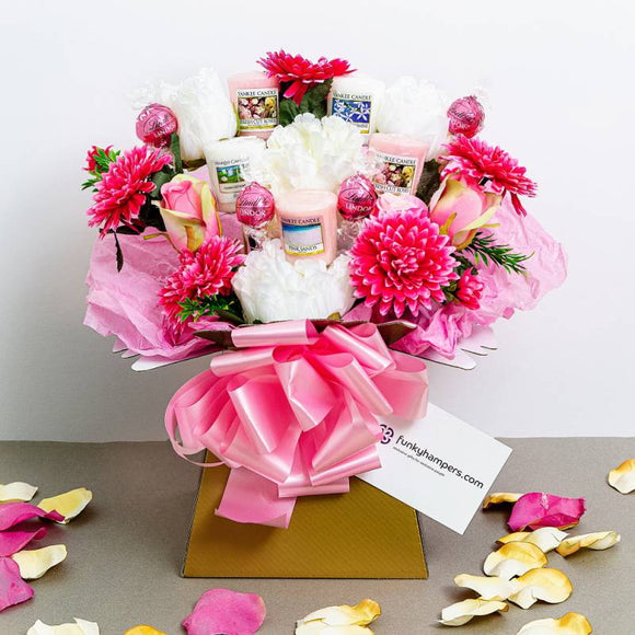 Yankee Candles & Chocolate Bouquet ¦ Pink Chocolate & Yankee Candle Bouquet A Wine Lovers