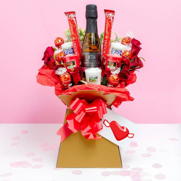 Yankee Candle, Prosecco, Lindor Chocolate, Red Roses Bouquet Gift A Wine Lovers