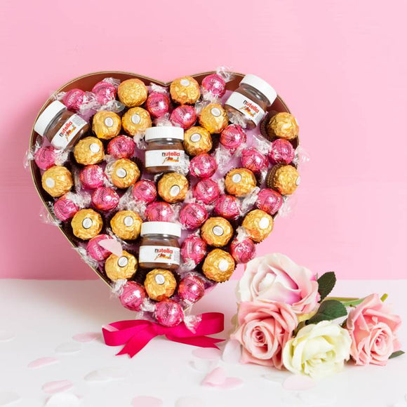 Pink ChocoLover Hamper ¦ Nutella, Lindor Lindt & Ferrero Rocher Heart. A Wine Lovers