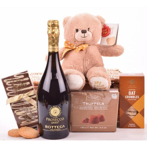 New Baby & Parents Hamper ¦ Newborn Baby Girl & Parent Gift Set ¦ A Wine Lovers