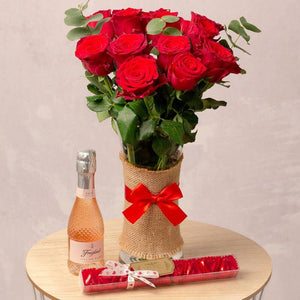 Luxury 12 Red Rhodos Roses Bouquet, Freixenet Rosé & Chocolate Gift A Wine Lovers