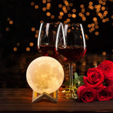 Rechargeable 3D Printing Moon Lamp ¦ USB Rechargeable Night Noon Light A Wine Lovers