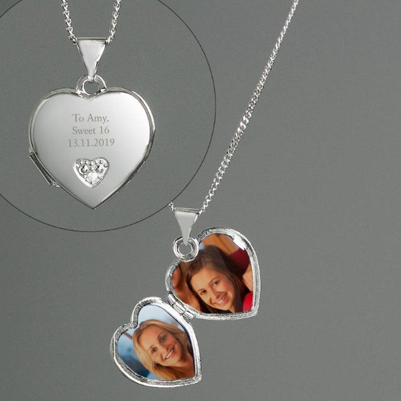 Personalised Sterling Silver and Cubic Zirconia Heart Locket Necklace Gifts