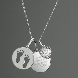 Personalised Sterling Silver Footprints and Heart Necklace Gifts A Wine Lovers