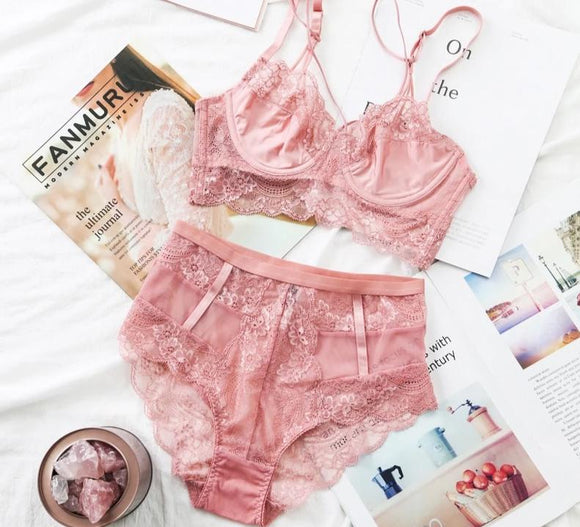 Lingerie Pink Bra Set ¦ Lace Underwear Set ¦ Sexy High-Waist Panties For Women  A Wine Lovers