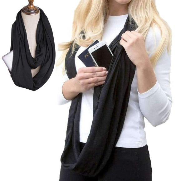 Hidden Pocket Scarf ¦ Travel Anti-Theft Scarves Secret Hidden Zipper Pocket A Wine Lovers