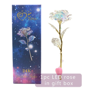 Forever Galaxy Rose ¦ Luminous Rose LED Light Flower Anniversary Gift A Wine Lovers