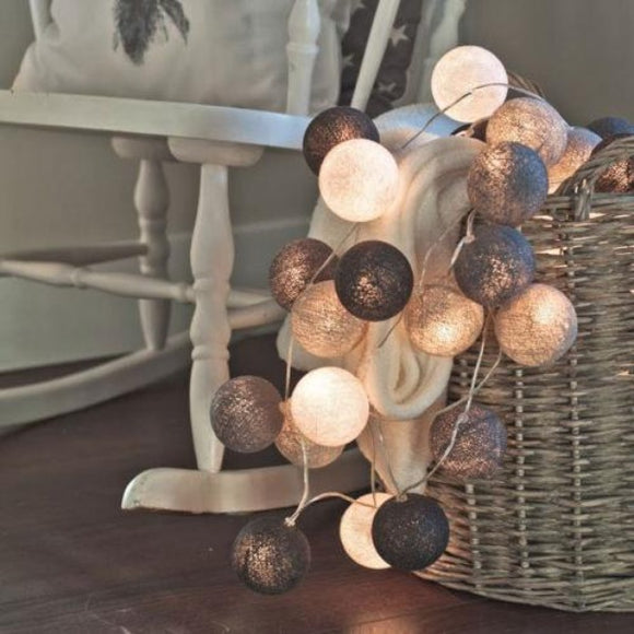 Cotton Ball LED Light String ¦ Garland Cotton Ball String Fairy Lights Decor A Wine Lovers