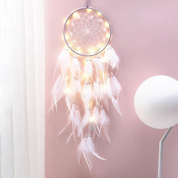 Heart Dream Catcher Feather Ornaments Wrapped Lights Girls Room Decor A Wine Lovers