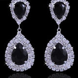 Luxurious Rhinestone Crystal Wedding Earrings ¦ Elegance Silver Black Gold Bridal Dangle Earring - A Wine Lovers