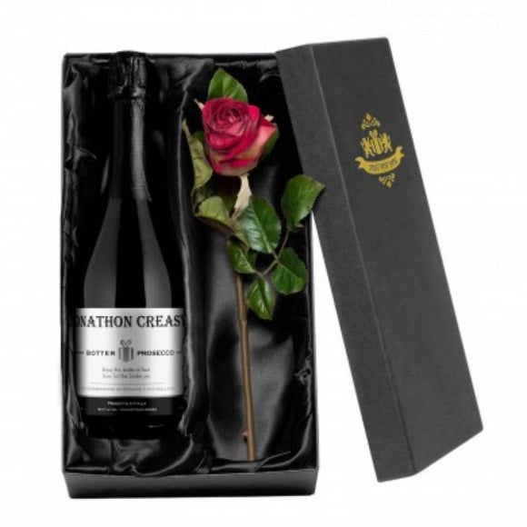 Personalised Contemporary Prosecco & Silk Rose for Valentine's Day ¦ A Wine Lovers
