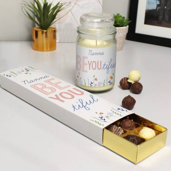 Personalised Scented Candle Jar and Truffles Chocolate Set Gift for HER A Wine Lovers