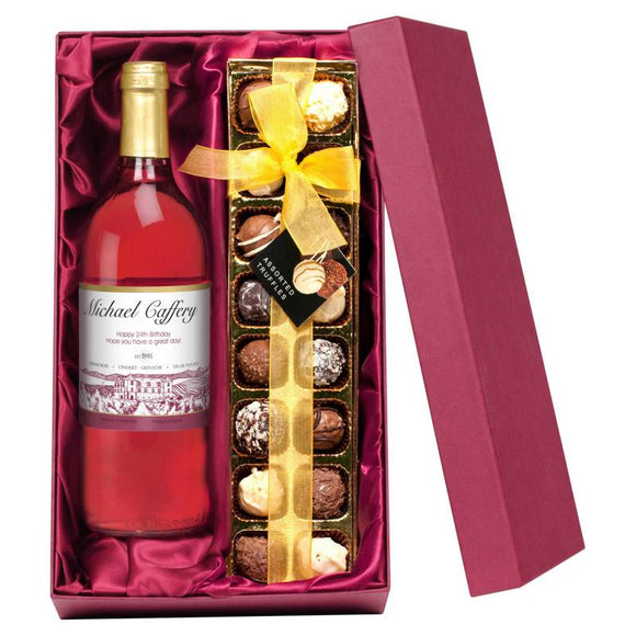 Personalised Rosé Wine Label ¦ Rosé & Chocolate Gift Box ¦ A Wine Lovers