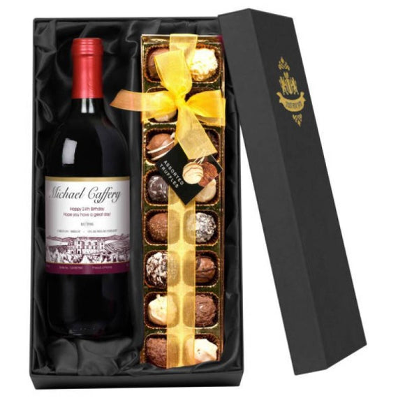 Personalised Red Wine and Chocolate Set Box Gifts for Wine Lovers at A Wine Lovers