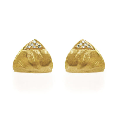 18KT Lobe Cuff Earrings with Diamonds