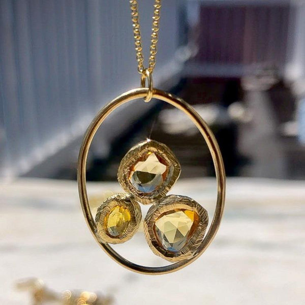 Large Open Oval Golden Sapphire Necklace
