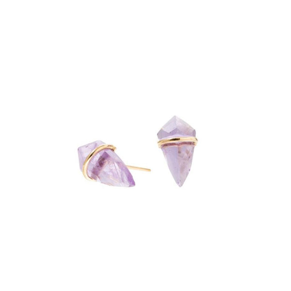 Handmade 18kt gold small kite stud earrings with amethyst..