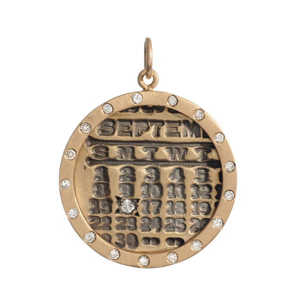 Large Gold Calendar Necklace with Diamond Border