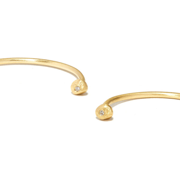 18KT Simple Wire Hoops with Diamonds