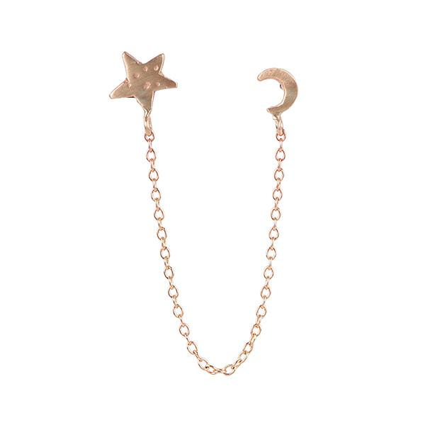 Moon Star Chain Earring