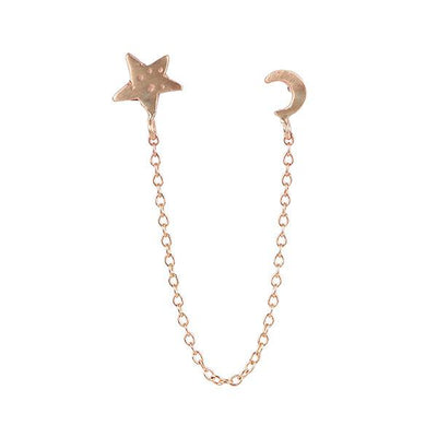 Moon Star Chain Gold Earring - Handcrafted