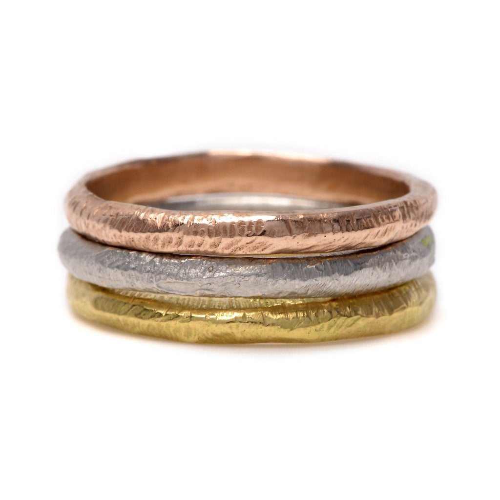 Hand Textured Stacking - Handcrafted Gold/Silver Rings