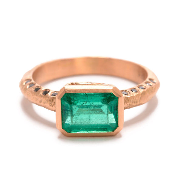 Emerald and Rose Gold Ring - Custom engagement rings online