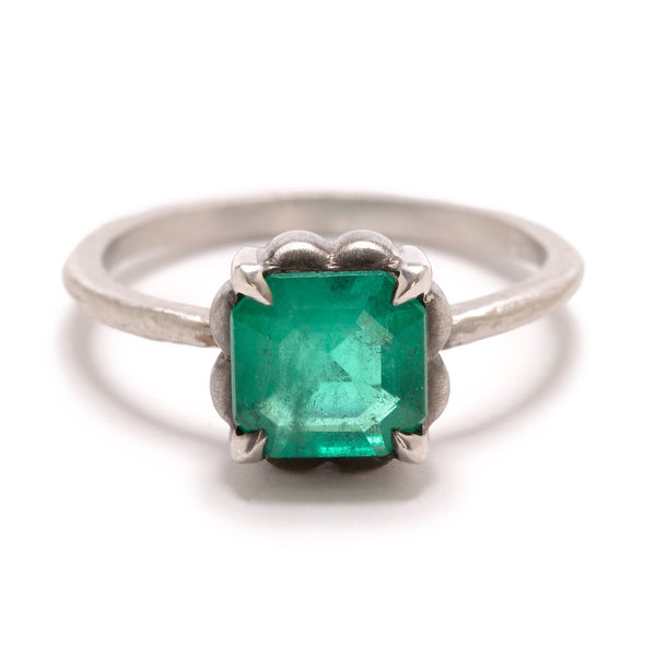 Platinum and Emerald Ring