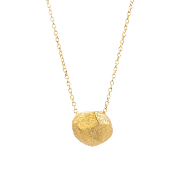 18KT Gold Brushed Circle Necklace