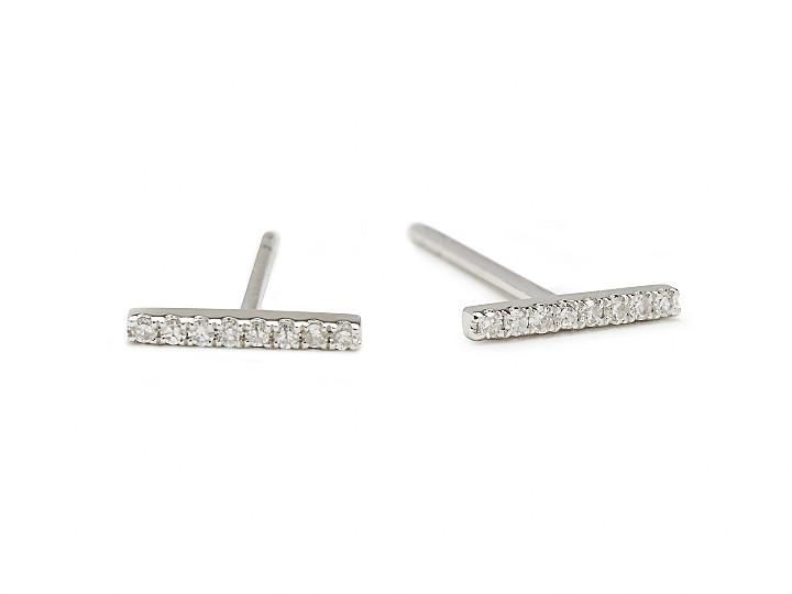 White Gold Pavé Bar Earrings