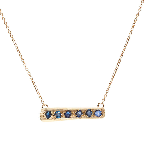 Myla Cross Bar - Blue Sapphires
