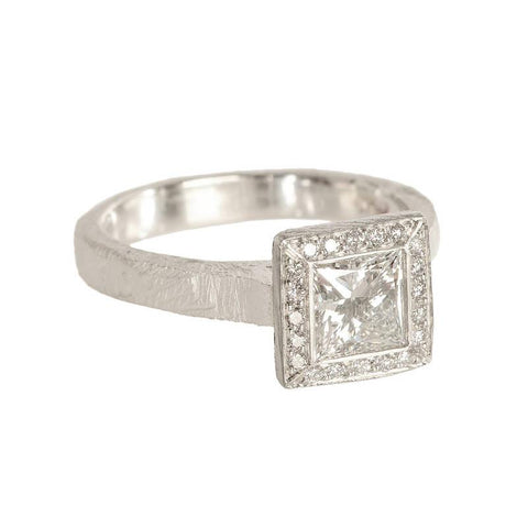 Princess cut diamond with halo