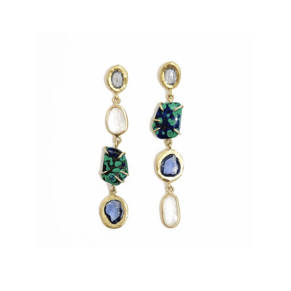 Handmade earrings with sapphires and azurite malachite in 18kt gold.