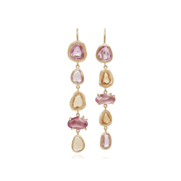 Handmade earrings with five pink and orange sapphires in 18kt gold.