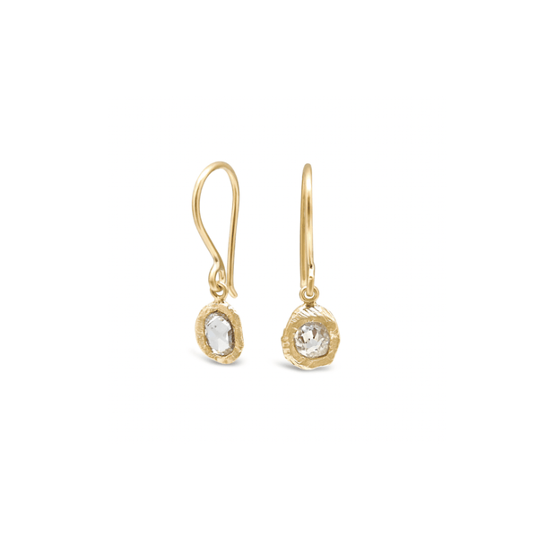 Handmade earrings with rose cut oval diamonds in 18kt gold.