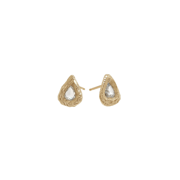 Handmade stud earrings with rose cut pear diamonds in 18kt gold.