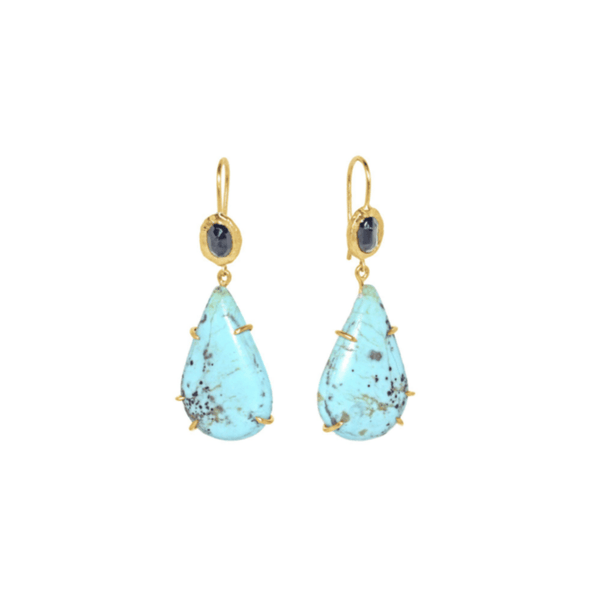 Handmade earrings in sapphires and turquoise in 18kt gold.