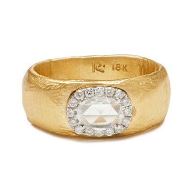 18KT Pave Halo Wide Diamond Ring