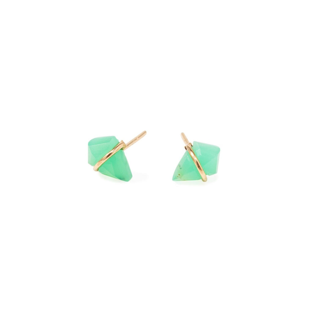 Handmade 18kt gold kite stud earrings with chrysoprase.