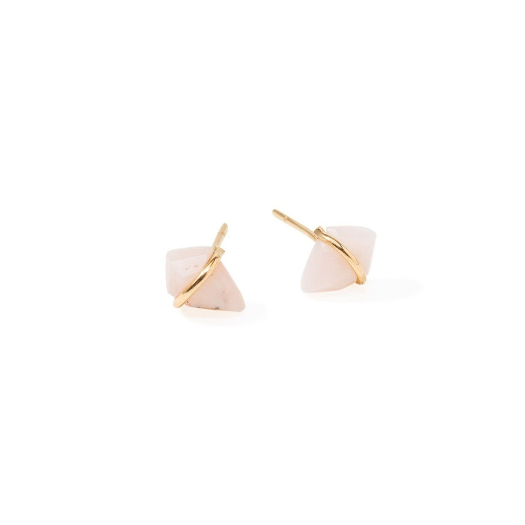 Handmade 18kt gold kite stud earrings with pink opal.
