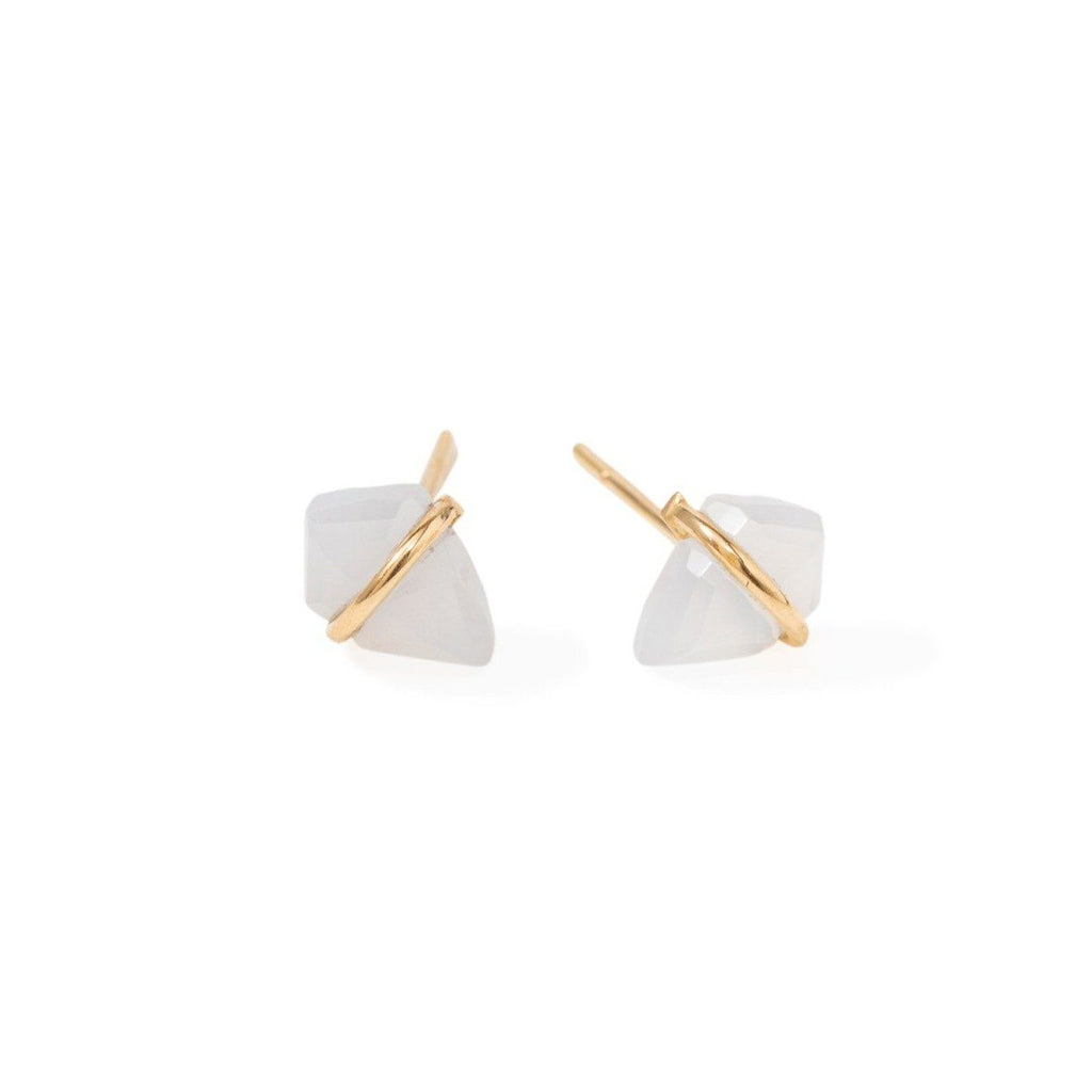 Handmade 18kt gold kite stud earrings with chalcedony.