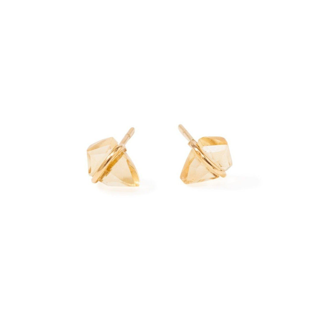 Handmade 18kt gold kite stud earrings with citrine.