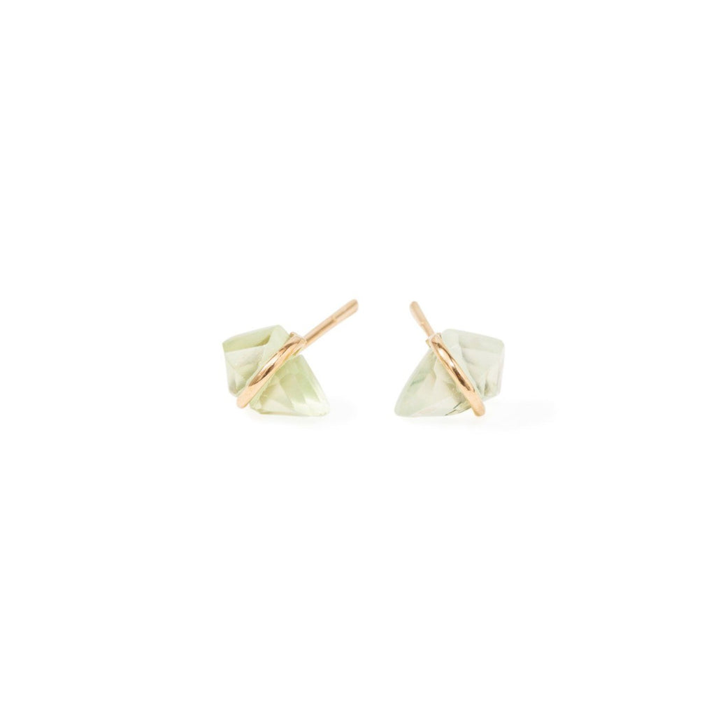 Handmade 18kt gold kite stud earrings with prehenite.