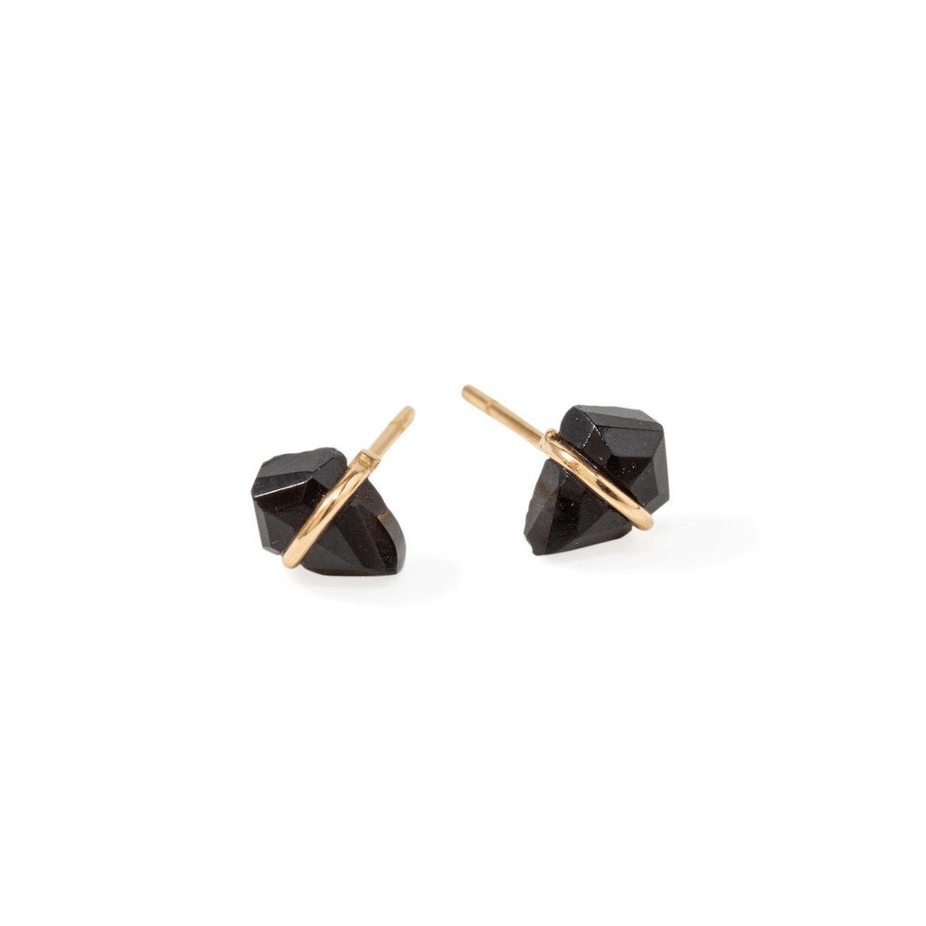 Handmade 18kt gold kite stud earrings with onyx..